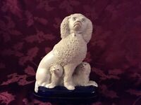 Antique Staffordshire Dog and 2 Puppies, Late 19th Century