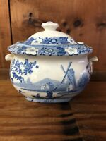 STAFFORDSHIRE COVERED SUGAR BOWL BLUE TRANSFERWARE DUTCH IMAGE HANDLES