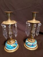 Pair  Longwy Antique Enamel on Porcelain and Brass Candlesticks with crystals