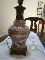Antique Purple Mulberry Transferware Lamp Staffordshire England