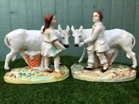 STUNNING PAIR: MID 19thC STAFFORDSHIRE THOMAS PARR FIGURES WITH DONKEYS c1860s