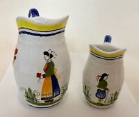 HB Henriot Quimper France Hand Painted 2 Small Creamer  Pitcher Woman