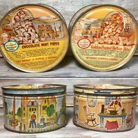"VTG '60s Advertising Tins ""Mrs.Leland's"" 1LB Key-Wind Litho Candy Tin Cans Set 2"