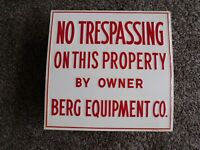 Vintage Embossed Berg Equipment No Trespassing Sign Farming Wisconsin Dairy Cows