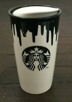 Starbucks Band of Outsiders 12 oz Hot Cup Ceramic Tumbler 2014 White Drip Brown
