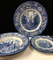 Staffordshire Liberty Blue Dinner & Bread Plates ~ Soup Bowls~ (Z11)