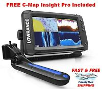Lowrance Elite-9 Ti Touchscreen Totalscan Transducer With Free Cmap Insight Pro