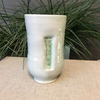 Vintage Abstract Recessed Geometric Blue Green Vase Planter Pottery Signed Tom