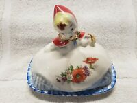 VINTAGE HULL LITTLE RED RIDING HOOD COVERED BUTTER DISH~PAT. #135889