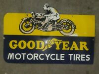 GOODYEAR MOTORCYCLE TIRES ENAMEL VINTAGE PORCELAIN SIGN 36 X 24 INCHES