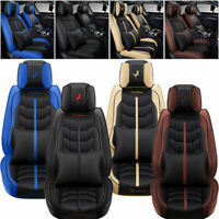 Car Seat Covers Top PU Leather Front amp; Rear Full Set Universal for 5 Seats Cars $86.97