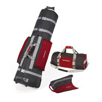 Samsonite Golf Deluxe 3 Piece Travel Set wCover Shoe Bag & Duffel Black & Red