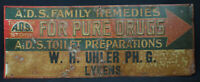 A.D.S Family Remedies For Pure Drugs Advertising Old Tin Vintage Drug Store Sign