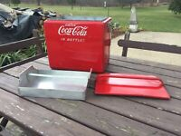 Vintage 1950s Drink Coca Cola In Bottles, Picnic Cooler with Tray Insert