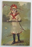 Trade Card Lautz Bros Master Soap William Pidge Grocers Weedsport NY Little Girl