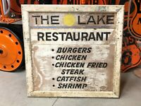 Vintage THE LAKE RESTAURANT Wood SIGN Cabin Lake House PATINA Wall Decor Old
