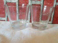 2 CROWN ROYAL Whiskey GLASSES TUMBLERS Embossed Weighted Base Logo Low Ball used