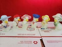 Lot of Hand Painted Fenton Duck Figurines signed w/ Hats Rare 3