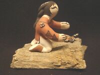 Vintage Signed MARILYN RAY Acoma Pueblo Pottery Girl w/Butterfly on Log 1999 EC