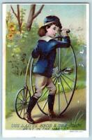 LAUTZ SOAP*HIGH WHEELER BICYCLE*PENNY FARTHING*VELOCIPEDE*VICTORIAN TRADE CARD