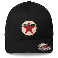 Texaco Vintage Sign Logo Black Hat Flexfit Baseball Cap Printed Emblem S M amp;L XL