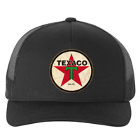 Texaco Vintage Sign Logo Printed Emblem Hat Five Panel Black Retro Trucker Cap