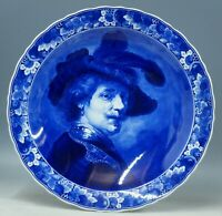@ PERFECT @ Porceleyne Fles handpainted bluewhite Delft charger Rembrandt 1973