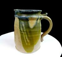 RAY GRIMM SIGNED STUDIO ART POTTERY OREGON ARTIST GREEN DRIP GLAZE 6.75
