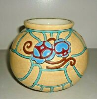 Antique Longwy Pottery  French Vase Bowl Crackle Signed