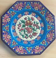 ANTIQUE LONGWY ENAMELED ART POTTERY OCTAGONAL PLATE