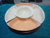 VTG California Pottery Lazy Susan Maurice S 14 Peach Beige Relish ChipDip