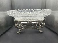 Antique Signed Pairpoint Egyptian Revival Centerpiece Cut Glass Bowl Clawfoot