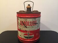 VINTAGE ~AMERICAN OIL~ AMOLUBE~MOTOR OIL 5 Gal.  Garage Can With Spout