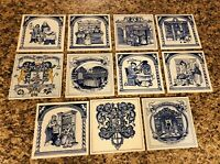 Vintage Delft Holland Apothecary Pharmacy Tiles set of 11 Burroughs
