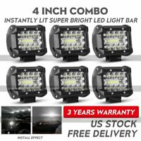 6X 4inch LED Work Light Pods 3-Rows Spot Flood Offroad Reverse ATV Driving Cube