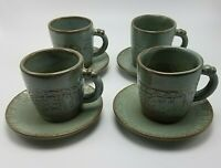 Frankoma Woodland Moss Aztec pattern Set of 4 cups and saucers 7C 7E