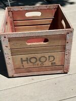 Vintage 1960's Hood Milk Crate Wood / metal, Red highlights, without dividers