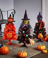 INDOOR OUTDOOR SCARY LED LIGHTED HALLOWEEN WITCH PUMPKIN OR CAT CHARACTER TRE