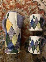 OOAK POTTERY PITCHER & CUPS HARLEQUIN PATTERN VERY FUN!