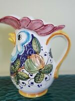 Deruta Pottery ROOSTER PITCHER 10 1 4quot; x 8quot; Hand Painted Italy ☆ Excellent