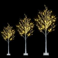 4-6 Ft Christmas Xmas White Birch Snow Tree w/ LED Lights Outdoor Party Decor US