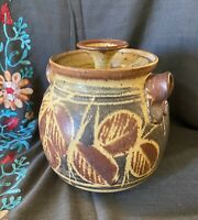 Studio Pottery Crock With Lid Hand Painted Signed Stoneware