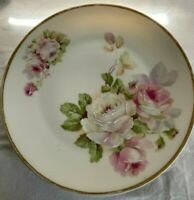 Carl Tielsch  Hand Painted Plate CT Altwasser, Germany Cabbage Rose Gold Rim
