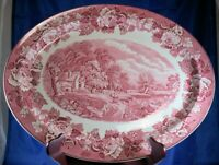 Woods & Sons ENOCH WOODS RED Transferware Oval PLATTER 16