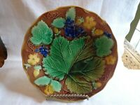Antique Majolic Plate Decorated with Strawberry's Grape Leaf
