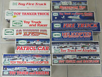 Lot of 13 Hess Toy Trucks Vehicles & Boxes 1988 - 2003, Most New NIB, Racers