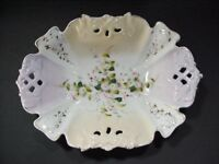 C. T. Carl Tielsch Altwasser, Germany: Large Scalloped Pierced Hand Painted Bowl