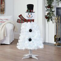 Holiday Time Pre-Lit Snowman Artificial Christmas Tree White Lights White Color