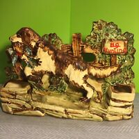 McCoy Pottery Planter Hunting Dog, Vintage 1950s Indoor Plant Holder, Dog w/Fowl