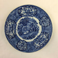 Staffordshire Flow Blue Transferware India Impressed Marks Plate 8 3 4quot; Antique